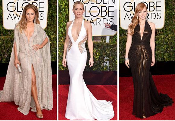 Jenifer López, Kate Hudson y Jessica Chastain lucieron atrevidos escotes