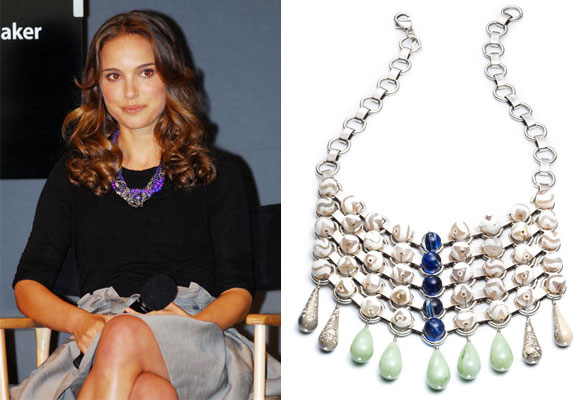 Natalie Portman wearing Dannijo jewelry and Necklace 'Snow'. Make clic to buy
