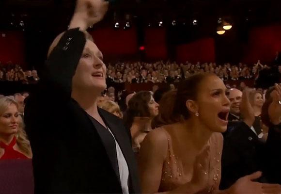 Meryl Streep y Jennifer López durante el discurso de Patricia Arquette