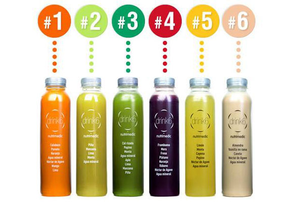 Zumos drink6 con sus números indicativos. Haz clic para comprarlos