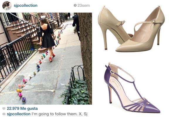 Sarah Jessica en la acción promocional. Foto: Instagram. A la derecha, zapatos Diane y Carrie de su colección