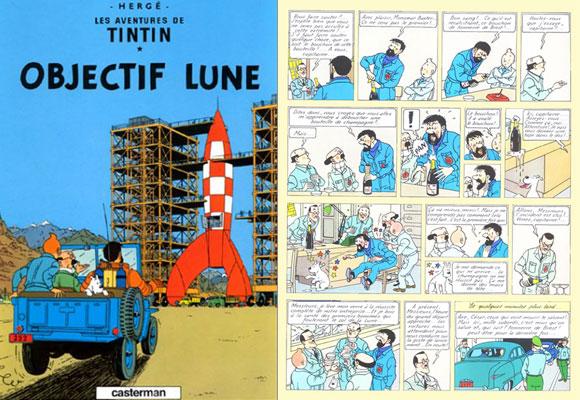 Página 55 del cómic de Tintín, Objectif Lune