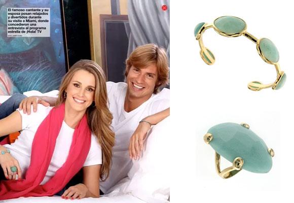 Carlos Baute y su esposa Astrid Klisans con pulsera y anillo de Coolook. Haz clic para comprar