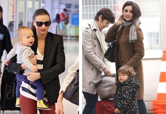 Miranda Kerr y Penélope Cruz con sus hijos