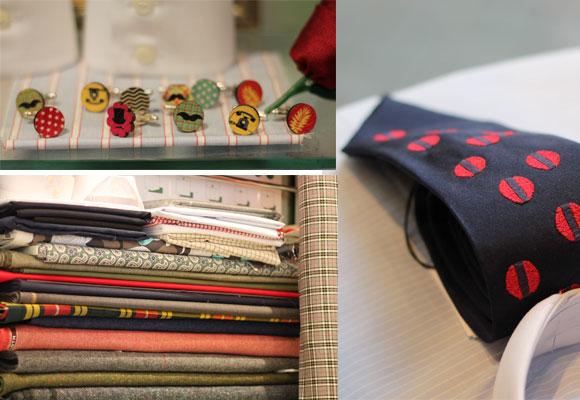 Broches, telas y corbata. Sastrería El 91