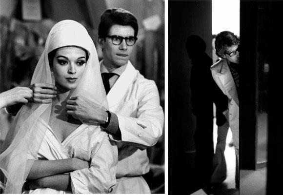 Yves Saint Laurent y Rebecca maniquí durante la preparación de su primera colección, 11 rue Jean-Goujon, París, diciembre 1961 a enero 1962