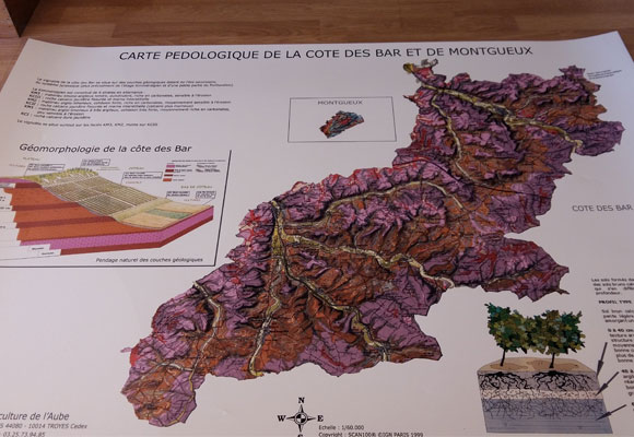 Carta geológica de la Côte des Bar