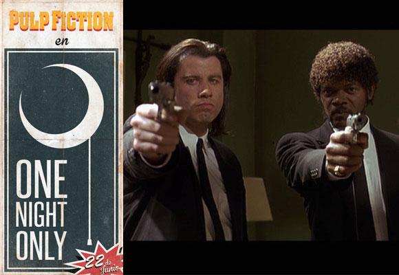 Cartel de la iniciativa y fotograma de la película con John Travolta y Samuel L. Jackson. Haz clic para comprar tu entrada