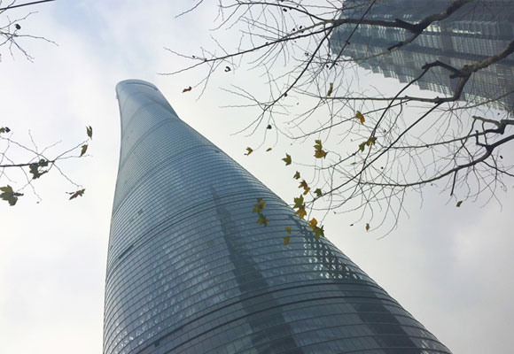 Vista desde el suelo de la Shangai Tower