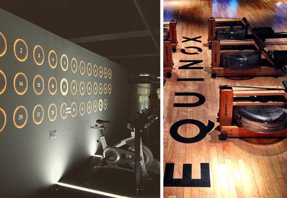 Interior de uno de sus gimmasios y detalle de una sala de remo combinado. Fotografías: cortesía de @equinox.jpg