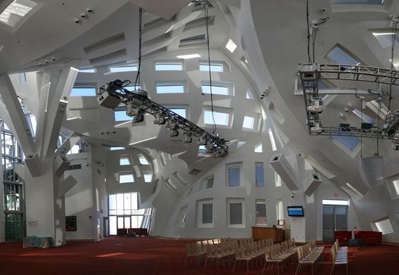 Interior de una de las salas de uso común del edificio