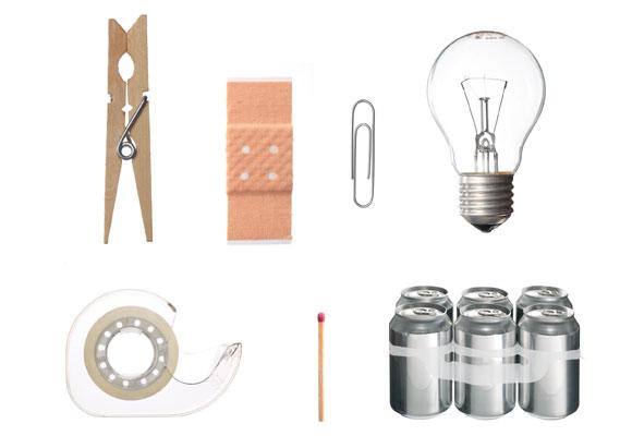 Pinza para tender, Tirita, Clip, Bombilla, Cinta Adhesiva, Cerilla, Portalatas. Copy: Vitra Design Museum