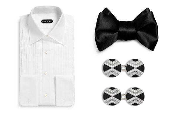 Camisa, pajarita y gemelos Tom Ford. Haz clic para comprar