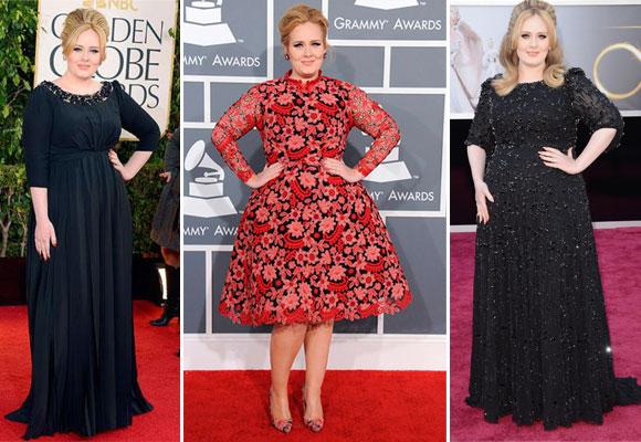 Adele con vestidos negros de Burberry y rojo estampado de Valentino