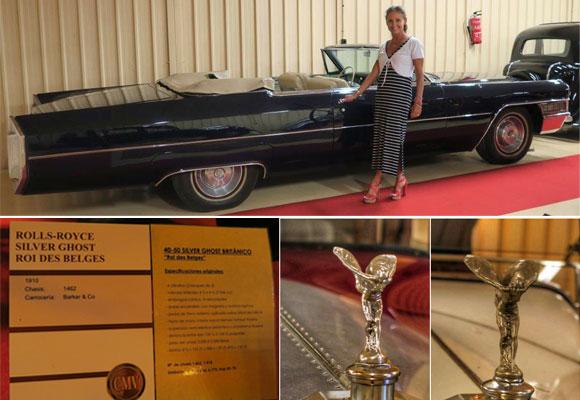 Carla junto a uno de los modelos de la exposición. Abajo, ficha de uno de los coches (todos van catalogados) y la dama alada en plata, símbolo de la firma