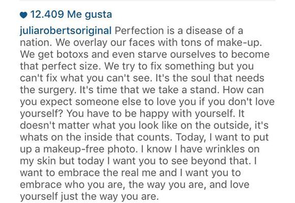 Texto que Julia Roberts colgó bajo su foto en Instagram