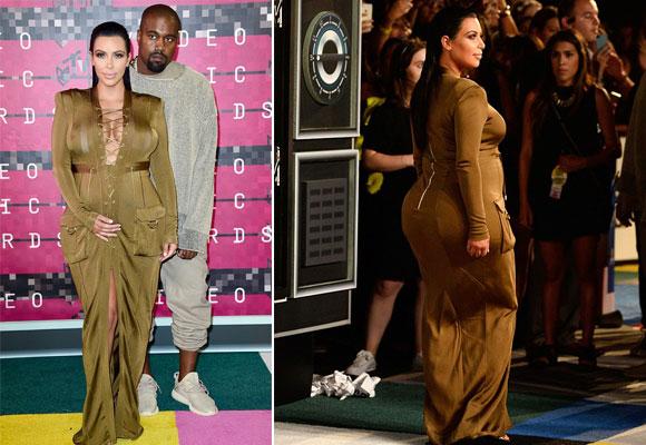 Kim con vestido de Balmain en los premios MTV
