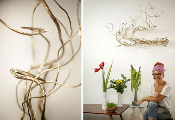 Retrato de Marina Anaya y detalle de sus esculturas