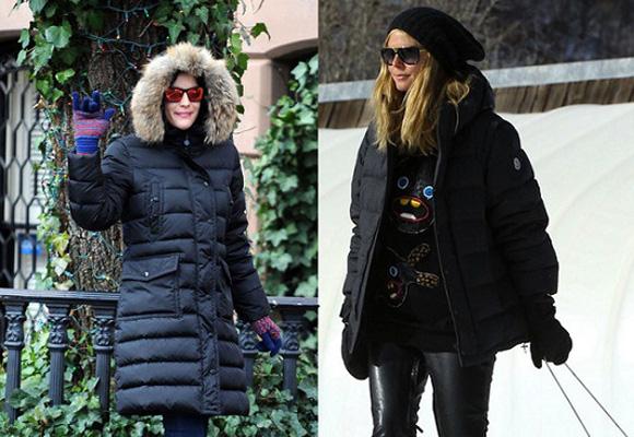 Anne Hathaway con plumas en NY y Heidi Klum con plumas en la nieve
