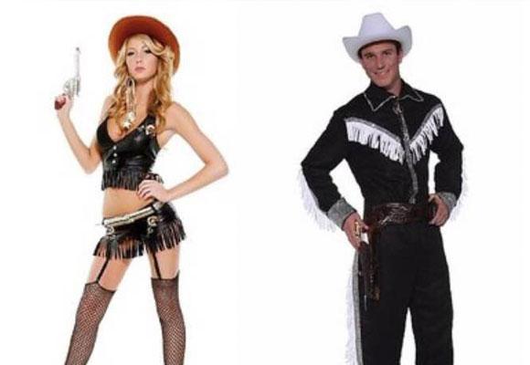 Diferencia de cantidad de tela en los disfraces de cowgirl y cowboy
