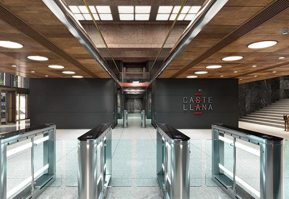 Lobby del edificio renovado, que un día albergó la sede del BBVA