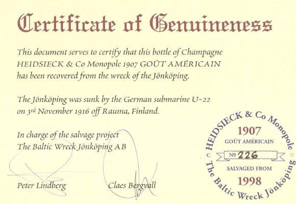 Certificado de veracidad que las botellas Heidsieck fueron sacadas del Jönköping