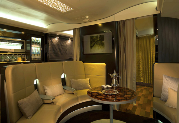 Una de las zonas de la suite Presidential de Etihad Airways