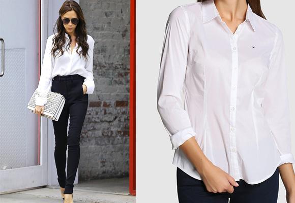 Victoria Beckham, la perfecta working girl con camisa blanca. A la dcha, camisa de Tommy de El Corte Inglés. Compra aquí