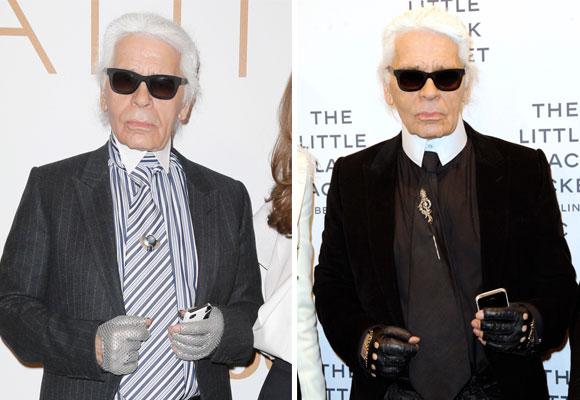 Karl Lagerfeld utiliza guantes la mayor parte del año