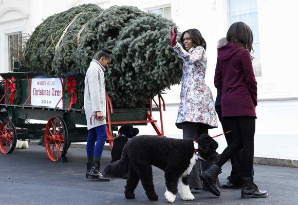 MIchelle Obama y sus hijas recibieron el enorme árbol de Navidad