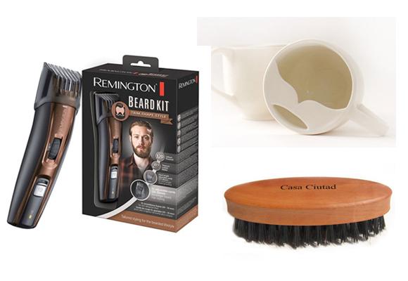 Un kit para barba, una divertida taza 'barbuda' y un cepillo. Tres regalos de 10