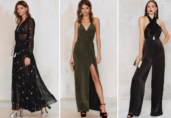 Nasty Gal applique maxi dress,glitter dress y jumpsuit black