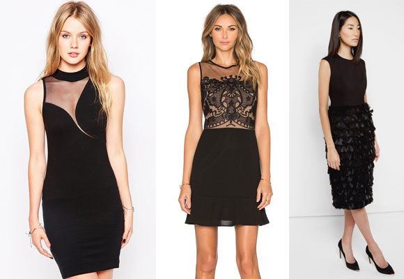 motel mesh velvet dress, greylin black mini dress y ted baker feather dress