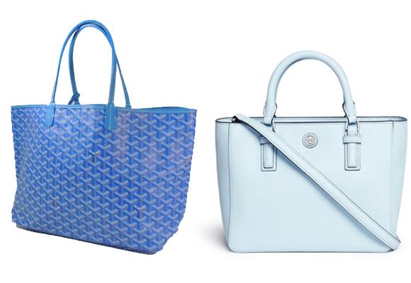 Shopping bag de Goyard (izda) y de Tony Buch. Ambos en tonos de azul. Pincha para comprar
