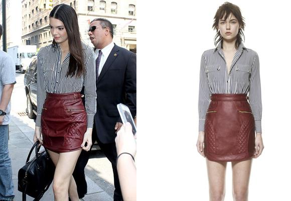 Kendall Jenner con falda de piel de Self Portrait. Cómprala aquí