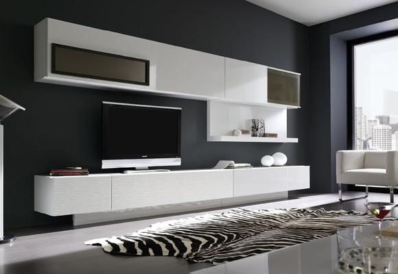 El blanco combinado con negro es acierto seguro para conseguir un salón elegante