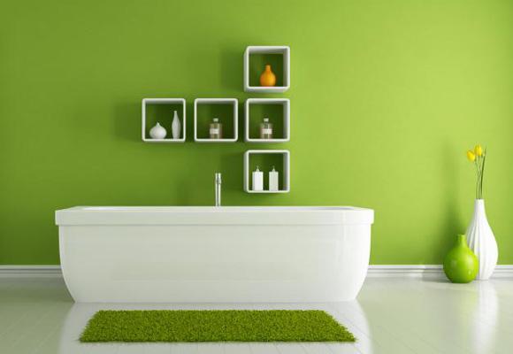 El verde levanta el ánimo. ¿Por qué no pintar el baño de este color? ¡Ideal!