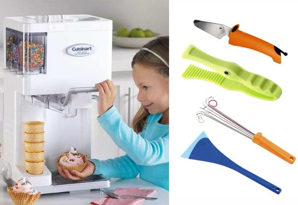 Máquina de helados Cusinart (izda) y utensilios de cocina para niños de