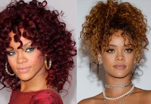 Rihanna también apuesta por los rizos, en versión suelta o recogido