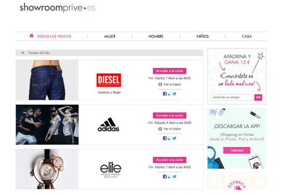 Showroomprive cuenta con más de marcas