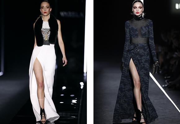 Elegantes y sexies vestidos en blanco o con estampado camuflaje, must de Varela