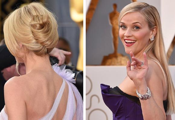 Heidi Klum apostó por un recogido despeinado (izda) y Reese Witherspoon por una melena liso tabla