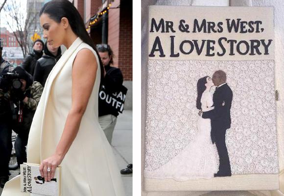 Kim Kardashian con un bolso inspirado en su boda hecho por Olympia Le Tan