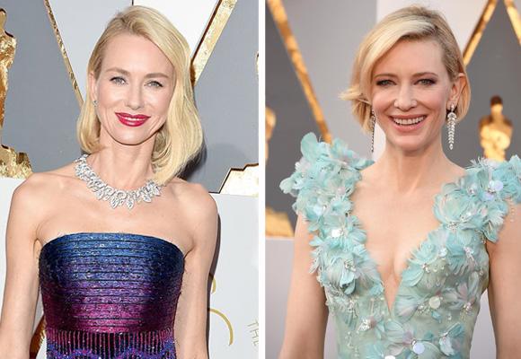 Naomi Watts (a la izda), con collar y pendientes de diamantes de Bulgari y Cate Blanchett con pendientes largos de Tiffany & Co Blue Book