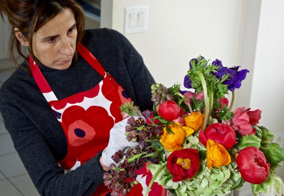 Pilar García de la Granja diseñando su primer ramo