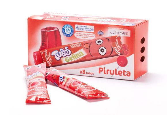 Tubos de gelatina con sabor a piruleta. Haz clic para comprarlos