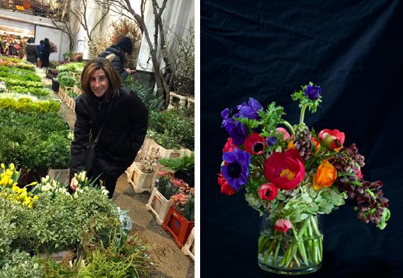 Pilar en el mercado de las flores y el resultado de su primer ramo (a la dcha)