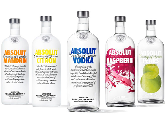 Diferentes variedades de Absolut Vodka. Compra aquí
