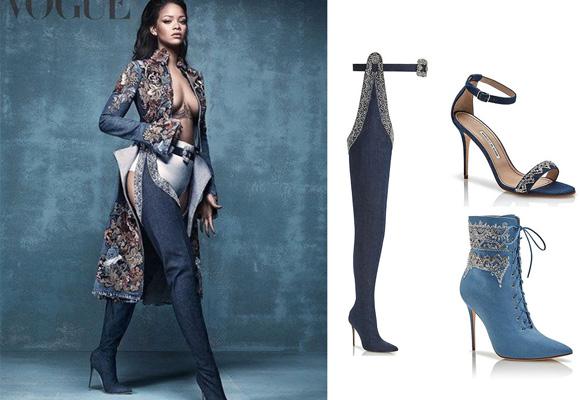 Rihanna y sus diseños en jeans para Blahnik. Compra aquí