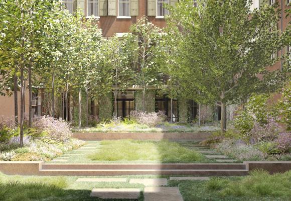 El ladrillo rojo y el patio interior, característico del barrio